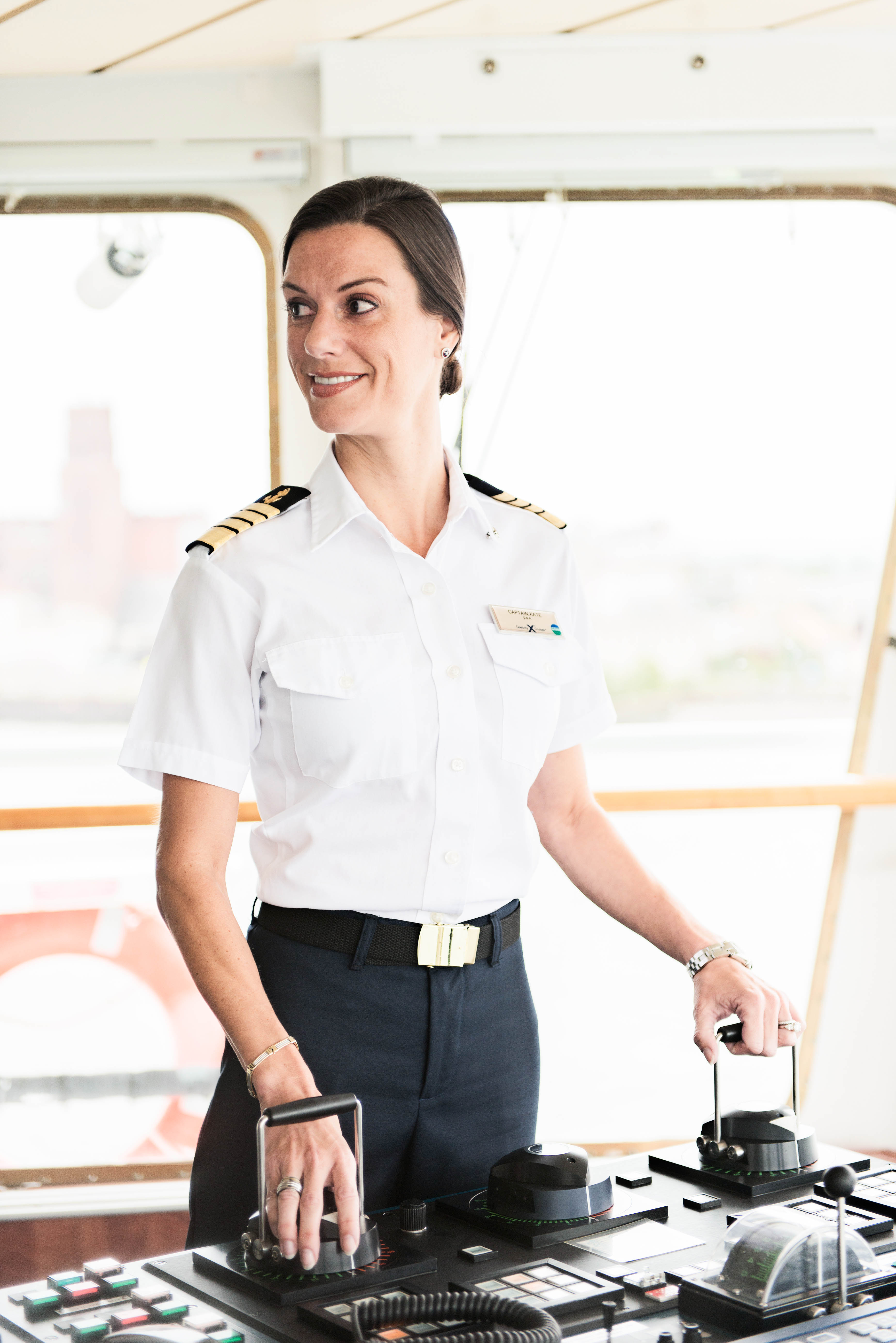 woman in navy